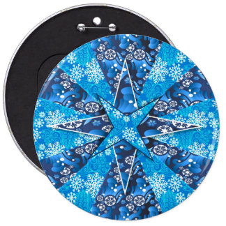 Snowflakes winter artistic illustration 6 cm round badge