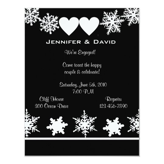 Snowflakes Winter Engagement Party Invitation