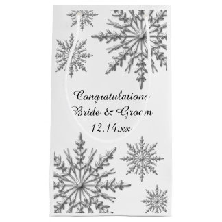 Snowflakes Winter Wedding Congratulations Small Gift Bag