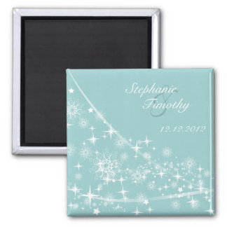 Snowflakes winter wedding save the date magnet