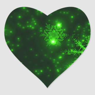 Snowflakes with Green Background Heart Sticker