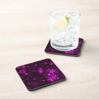 Snowflakes with Purple Background Coaster