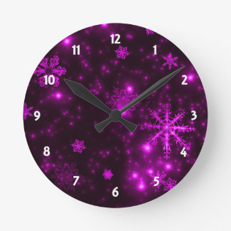 Snowflakes with Purple Background Round Clock