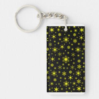 Snowflakes - Yellow on Black Double-Sided Rectangular Acrylic Key Ring