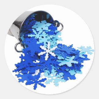 SnowFlakesPourIceBucket062109 Round Sticker