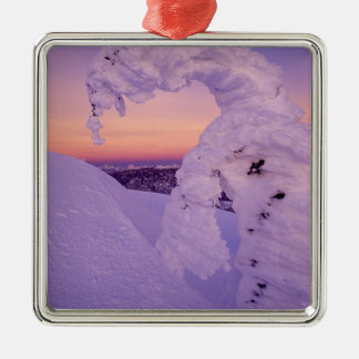 Snowghost in the Whitefish Range at Twilight Silver-Colored Square Decoration