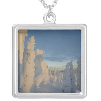 Snowghosts at sunset at Whitefish Mountain 2 Silver Plated Necklace