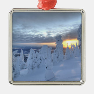 Snowghosts at sunset at Whitefish Mountain Christmas Ornament