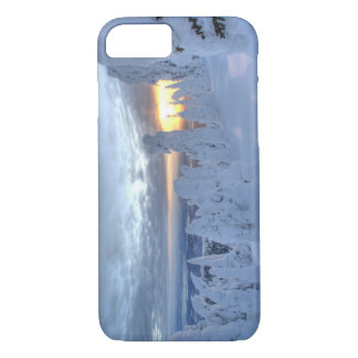 Snowghosts at sunset at Whitefish Mountain iPhone 8/7 Case