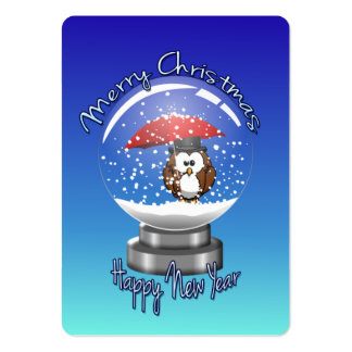 snowglobe owl business card template