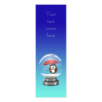 snowglobe owl pack of skinny business cards