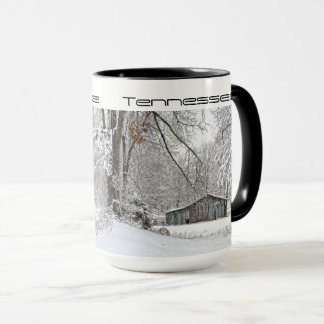 Snowing in Rural Tennessee Vintage Barn Mug