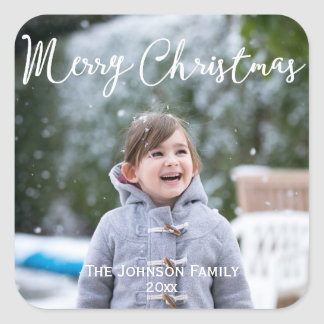 Snowing Photo Christmas Greetings Square Stickers