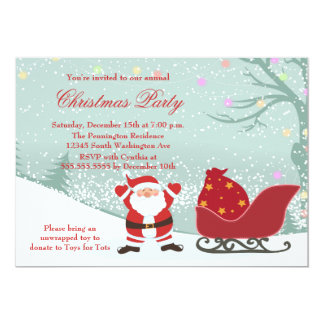 Snowing Santa sleigh Christmas party invitation