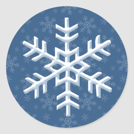 Snowing Snowflake Winter Holiday Classic Round Sticker