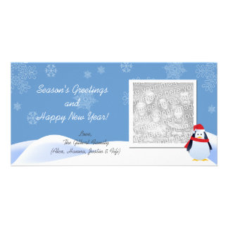 Snowing with Penguin Holiday Photo Cards
