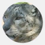 snowleopard round stickers