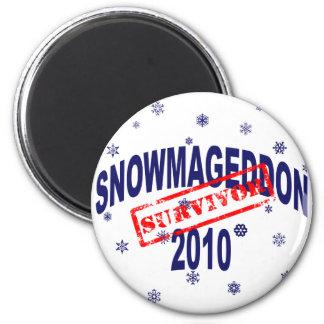 snowmageddon 2010 6 cm round magnet