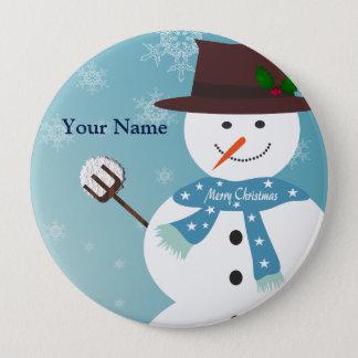 Snowman 10 Cm Round Badge