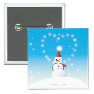 Snowman 15 Cm Square Badge
