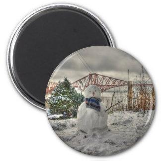 Snowman 6 Cm Round Magnet