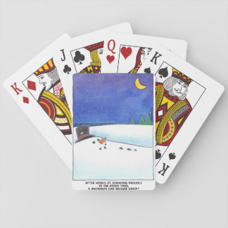 Snowman Adrift Playing Cards