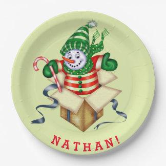 "SNOWMAN ALONE CHRISTMAS CARTOON Paper Plates 9"""