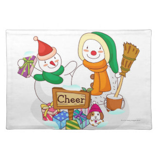 Snowman and a snowwoman with Christmas presents Placemat