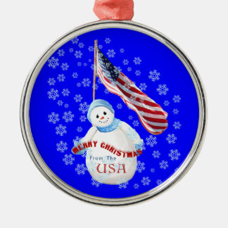 Snowman and American Flag Christmas Ornament