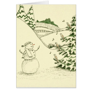 Snowman and Birds Greeting Card
