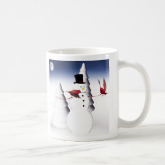 Snowman and birds holiday mug