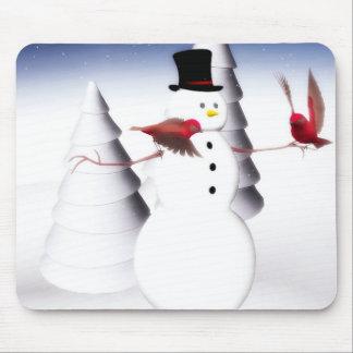 Snowman and birds mousepad