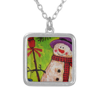 Snowman and Broom Square Pendant Necklace