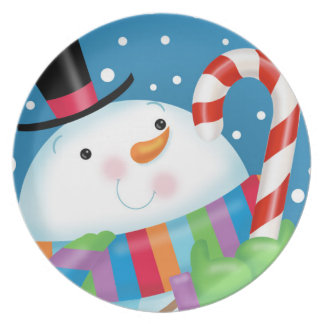 Snowman and Candy Cane Melamine Plate