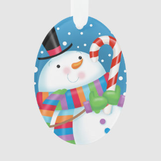 Snowman and Candy Cane Ornament