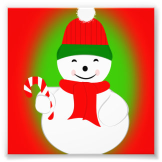Snowman and Candy Cane Photo Art