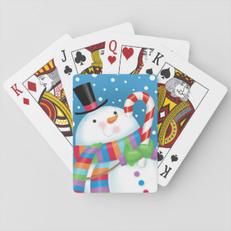 Snowman and Candy Cane Playing Cards