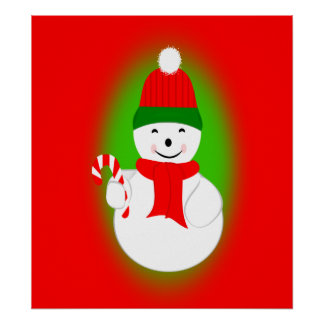 Snowman and Candy Cane Posters