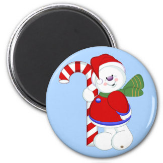 Snowman and Candycane 6 Cm Round Magnet