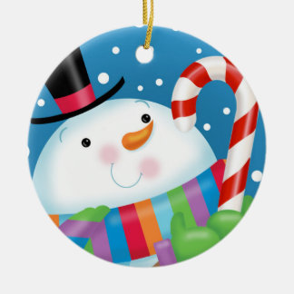 Snowman and Cane Ornament