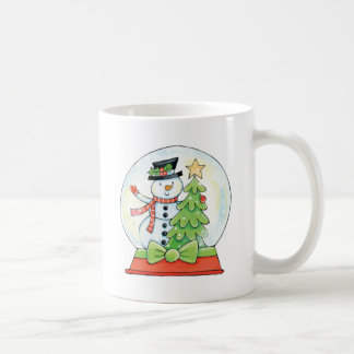 Snowman and Christmas Tree in a Snow Globe Basic White Mug