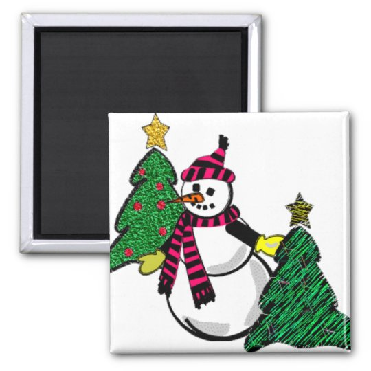 Snowman and Christmas Tree Magnet