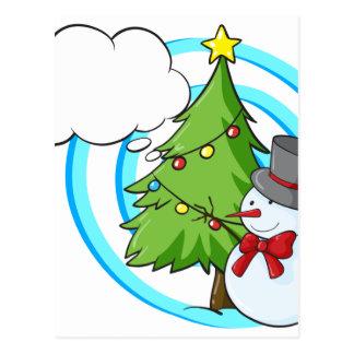 Snowman and Christmas tree Postcard