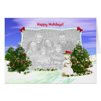 Snowman and Christmas Trees (photo frame) Greeting Card