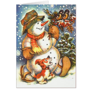 Snowman and Dog Greeting Card