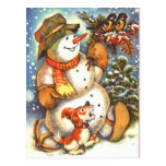 Snowman and Dog Post Card