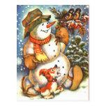 Snowman and Dog Postcard
