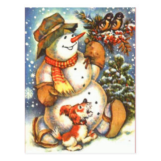 Snowman and Dog Postcard