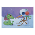 Snowman and Dragon Poster