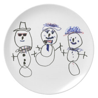 Snowman and Family Dinner Plates